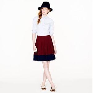 J Crew color block crepe pleated skirt colorblock